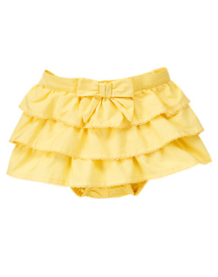 Lemon Yellow Bow Ruffle Skirted Bloomer by Gymboree