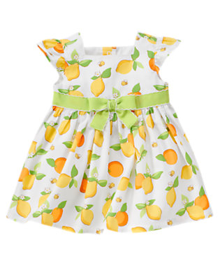Baby White Lemon Bumblebee Bow Lemon Bumblebee Print Dress by Gymboree