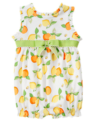 White Lemon Bumblebee Bow Lemon Bumblebee Shortie One-Piece by Gymboree