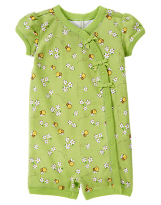 Lime Bumblebee Bumblebee Flower Shortie One-Piece by Gymboree