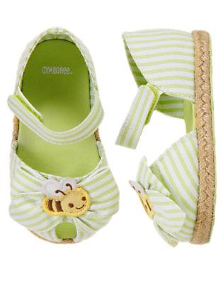 Lime Stripe Bumblebee Bow Stripe Espadrille Crib Sandal by Gymboree