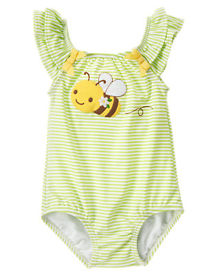 Lime Stripe Bumblebee One-Piece Swimsuit by Gymboree