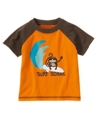 Sunset Orange Surf School Monkey Tee by Gymboree