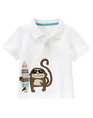 White Surf Monkey Pique Polo Shirt by Gymboree