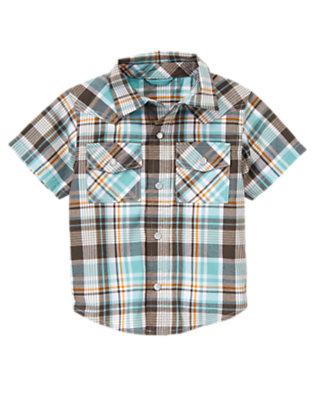 Surf Blue Plaid Plaid Western Shirt by Gymboree