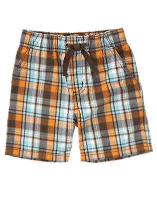 Sunset Orange Plaid Pull-On Sunset Orange Plaid Short by Gymboree