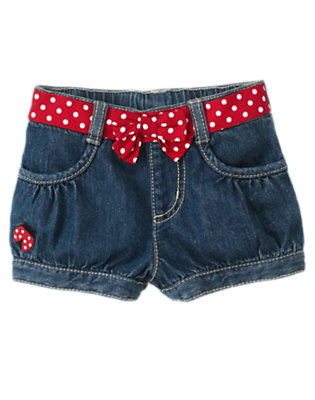 Denim Ladybug Belted Jean Short by Gymboree