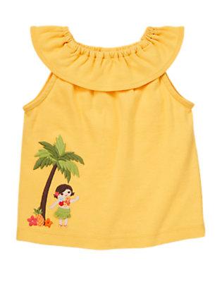 Pineapple Yellow Ruffle Hula Tank Top by Gymboree