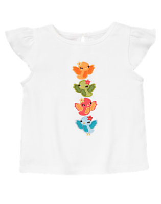 White Song Bird Tee by Gymboree