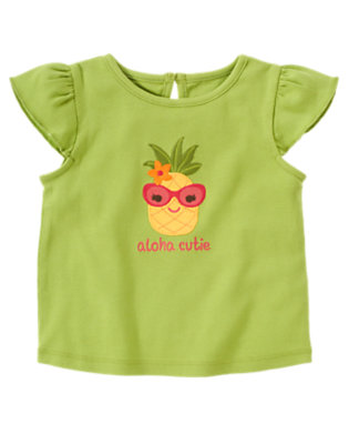 Parrot Green Aloha Cutie Pineapple Tee by Gymboree