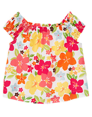 Guava Pink Floral Floral Swing Top by Gymboree