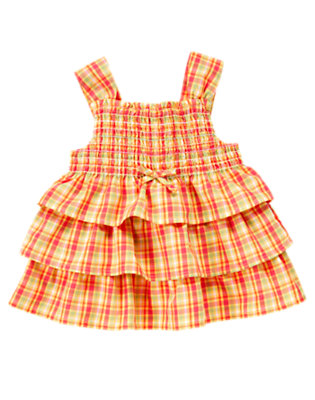 Guava Pink Plaid Smocked Tiered Plaid Top by Gymboree