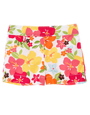Toddler Girls Guava Pink Floral Flower Short by Gymboree