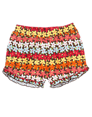 Toddler Girls Coconut Brown Mini Bloom Mini Blooms Ruffle Short by Gymboree