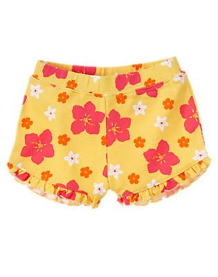 Pineapple Yellow Floral Ruffle Short by Gymboree