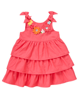 Toddler Girls Guava Pink Floral Lei Tiered Sundress by Gymboree