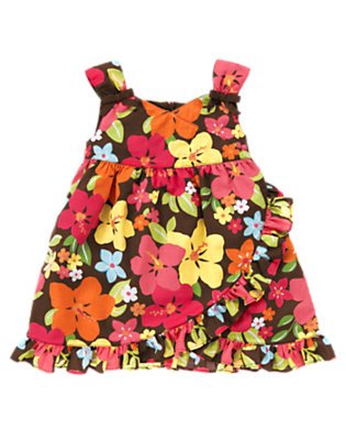 Toddler Girls Coconut Brown Floral Ruffle Floral Sundress by Gymboree