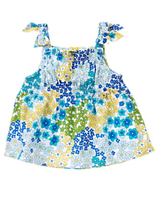 White Blossom Bow Smocked Blossom Top by Gymboree