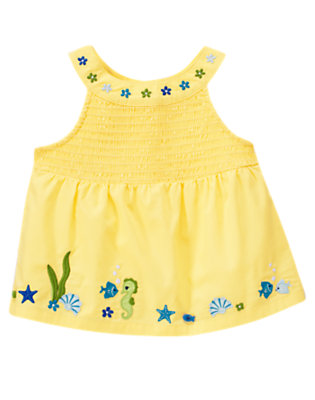 Sunshine Yellow Underwater Sea Creature Smocked Top by Gymboree