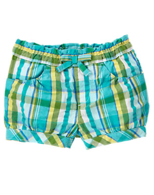 Toddler Girls Dolphin Blue Plaid Bow Plaid Short by Gymboree