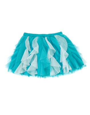 Toddler Girls Scuba Blue Ruffle Tulle Skirt by Gymboree