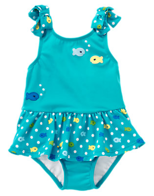 Toddler Girls Scuba Blue Fish Dot Ruffle Swimsuit by Gymboree