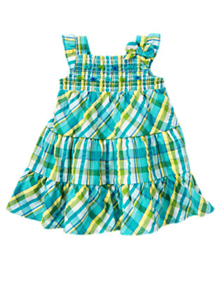 Dolphin Blue Plaid Fish Button Smocked Plaid Sundress by Gymboree