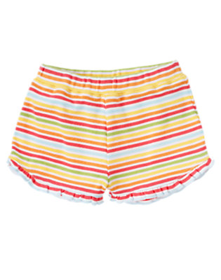 Toddler Girls Mango Orange Stripe Stripe Ruffle Short by Gymboree