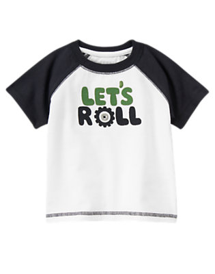 White Let's Roll Button Tee by Gymboree