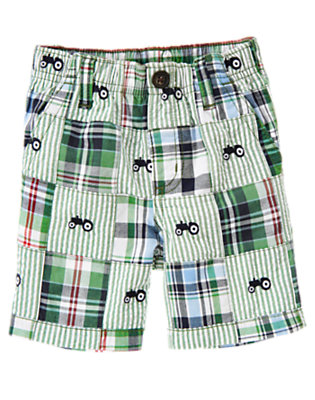 Summer Green Patchwork Tractor Plaid Patchwork Short by Gymboree