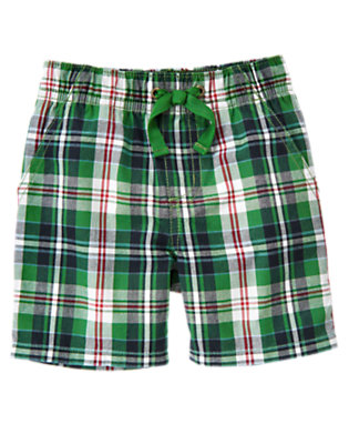 Summer Green Plaid Pull-On Summer Green Plaid Short by Gymboree