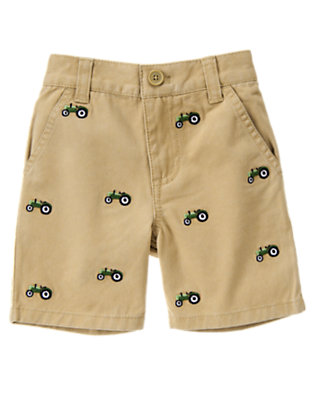 Khaki Embroidered Tractor Short by Gymboree