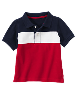 Gym Navy 4th Of July Pieced Pique Polo Shirt by Gymboree