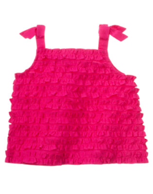Dahlia Pink Bow Ruffle Tank Top by Gymboree