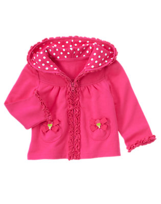 Toddler Girls Dahlia Pink Bow Ruffle Hoodie by Gymboree