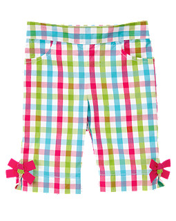 Bow  Cuff  Plaid  Capri  Pant