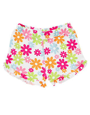 Toddler Girls White Flower Floral Ruffle Short by Gymboree