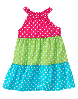 Dahlia Pink Dot Polka Dot Tiered Sundress by Gymboree