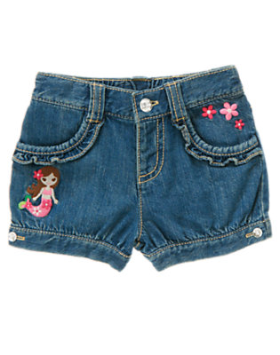 Toddler Girls Denim Mermaid Flower Jean Short by Gymboree