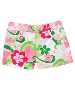 Toddler Girls Mermaid Pink Floral Gem Floral Short by Gymboree