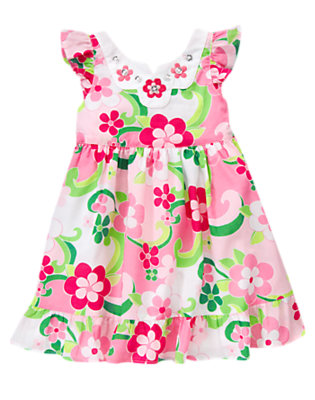 Toddler Girls Mermaid Pink Floral Gem Floral Dress by Gymboree