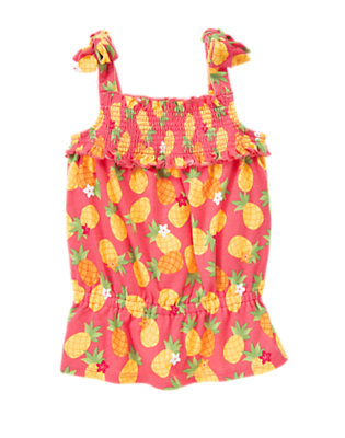 Guava Pink Pineapple Smocked Pineapple Tank Top by Gymboree