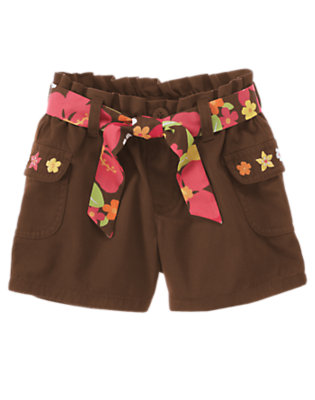 Girls Coconut Brown Flower Belted Short by Gymboree