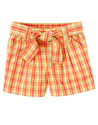 Girls Guava Pink Plaid Belted Plaid Short by Gymboree