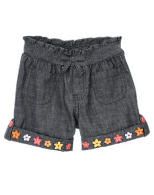 Girls Chambray Flower Cuff Short by Gymboree