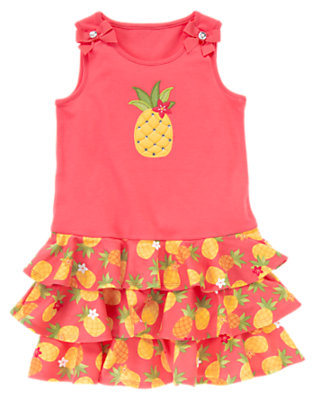 Girls Guava Pink Pineapple Ruffle Tiered Dress by Gymboree