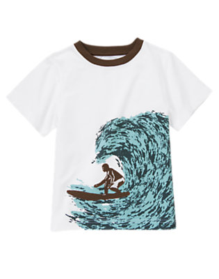 White Big Wave Surfer Tee by Gymboree