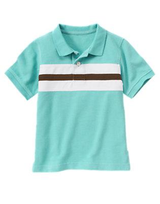 Boys Surf Blue Chest Stripe Pique Polo Shirt by Gymboree