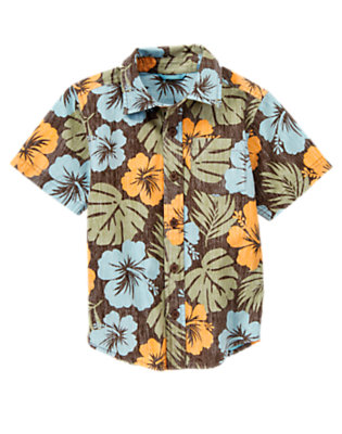 Boys Olive Green Hibiscus Reverse Print Hibiscus Shirt by Gymboree