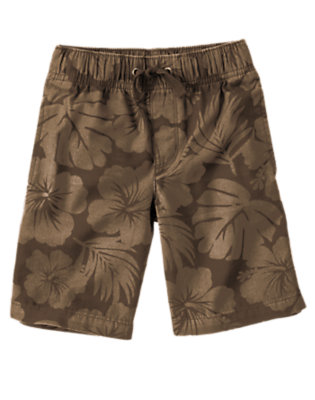 Chocolate Brown Hibiscus Drawstring Hibiscus Canvas Short by Gymboree
